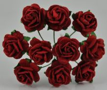 1.5cm DARK RED Mulberry Paper Roses